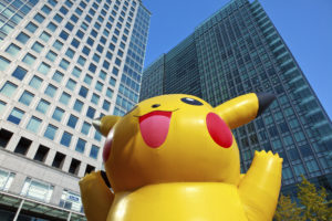 Inflatable Pokemon with Skyscraper backdrop Tokyo Japan